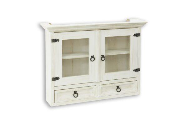 biała szafka wisząca drewniana