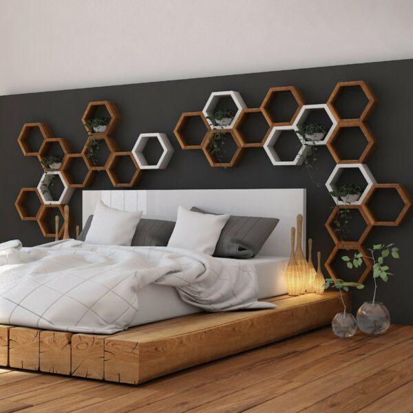 półki z drewna heksagon