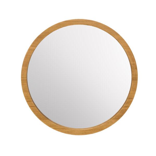 okrągłe lustro drewniane