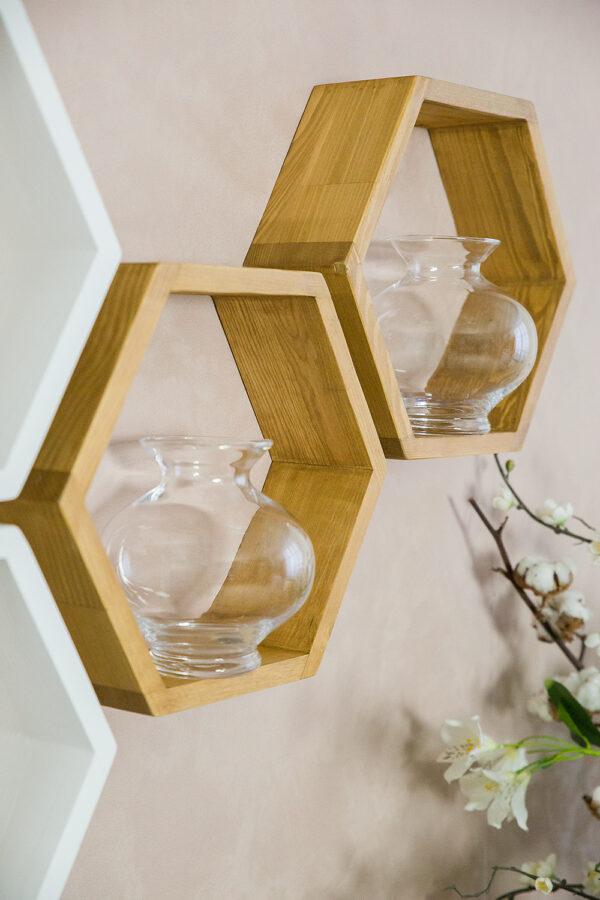 drewniane półki heksagon