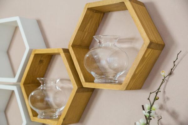 półki sosnowe heksagon
