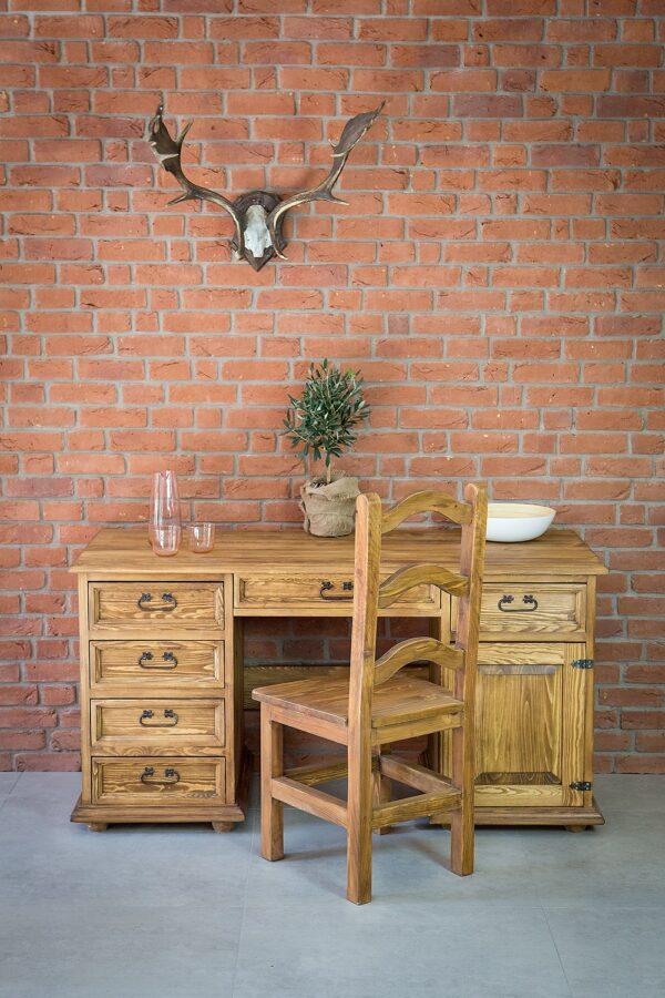 krzesło drewniane biurko sosnowe