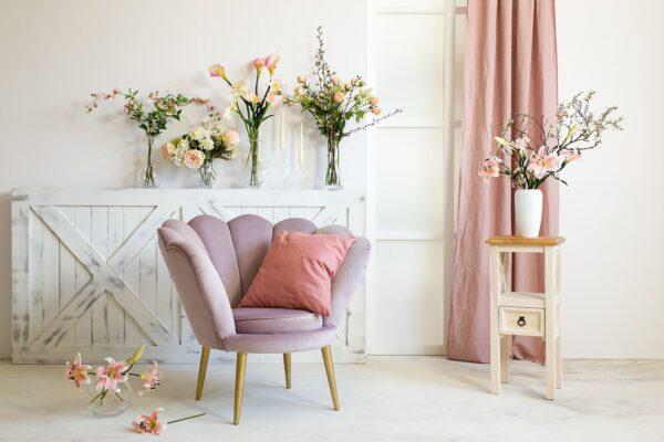 fotel różowy tulipan
