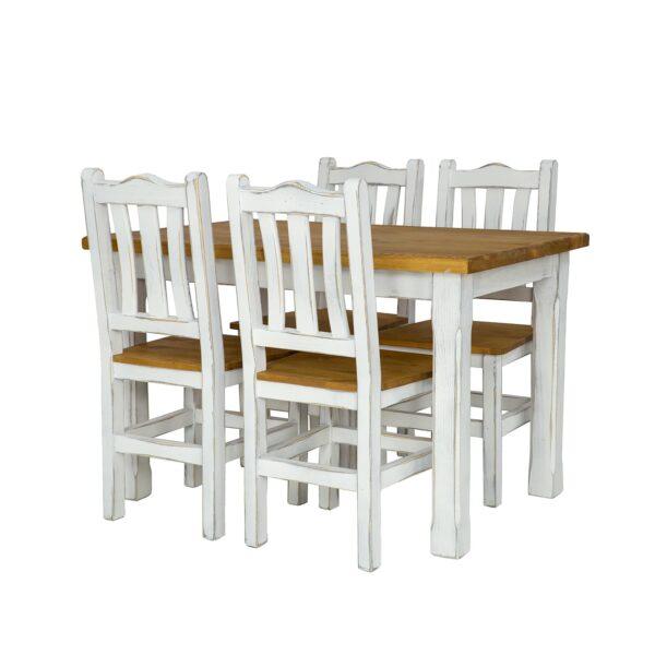 krzesła białe ze stołem