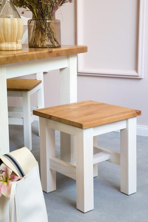 taboret biały drewniany kuchenny