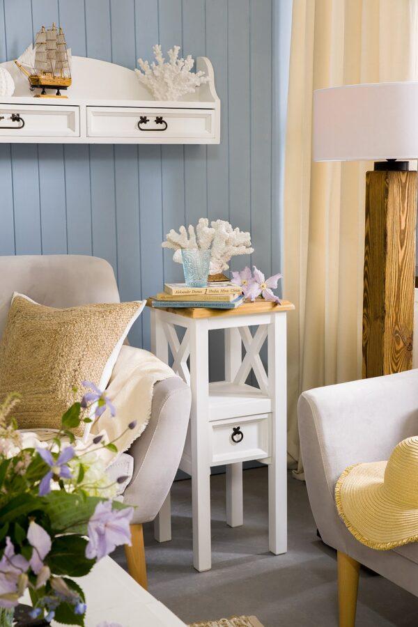 stolik kwietnik biały do salonu