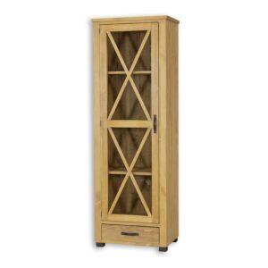 Drewniana witryna jednodrzwiowa do salonu