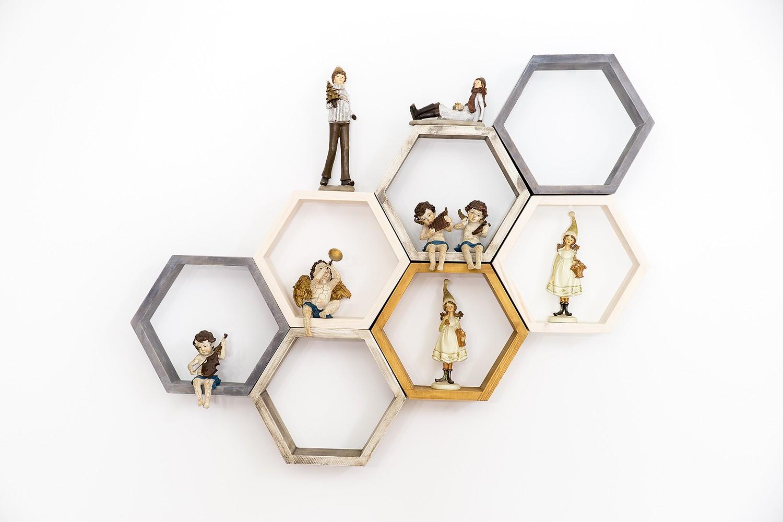 Półka heksagon kompozycja