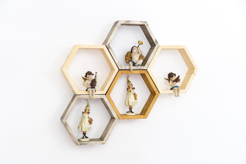Półka drewniana heksagon